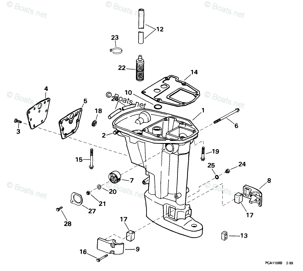 Evinrude Outboard Parts By Hp 9 9hp Oem Parts Diagram For