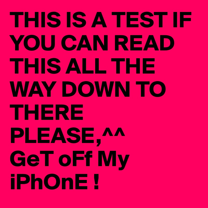 If You Can Read Test