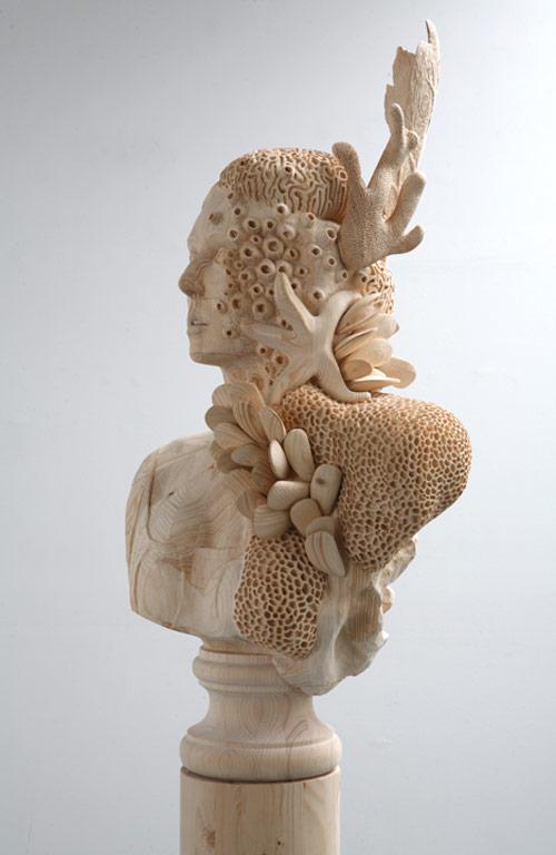 Wood sculptures by artist Morgan Herrin