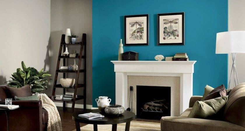 Perfectly Taupe Teal Tension Feature Wall Living Room Homes Decor