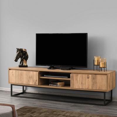 meuble tv belinda 180 x 40 x 50 cm noir pin