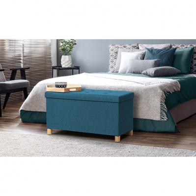 banc coffre avec pieds en bois 76 x 38 x 43 cm lin bleu canard
