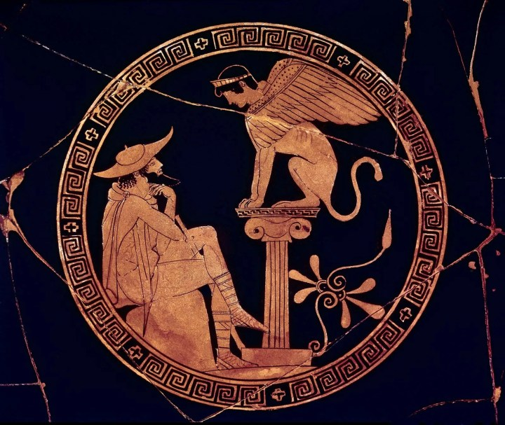 Image result for sphinx riddle oedipus