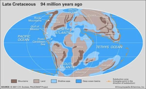 Cretaceous Period | Definition, Climate, Dinosaurs, & Map ...