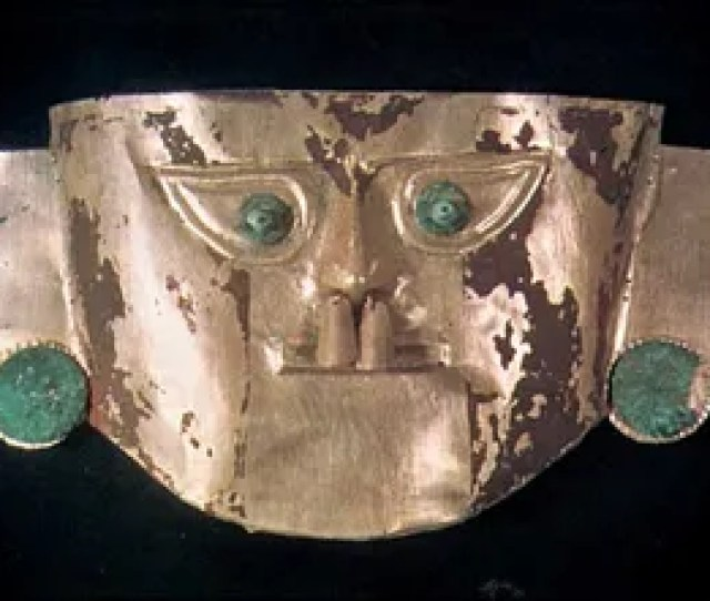 Death Mask Of Gold And Silver Alloy With Copper Eyes And Ears Chimu Kingdom Related Topics Pre Columbian Civilizations  C B Andean Civilization