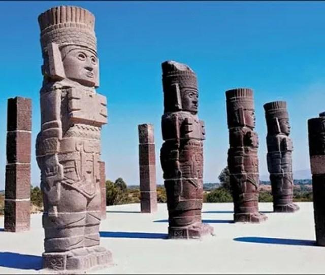 Columns Depicting Toltec Warriors Tula Mexico