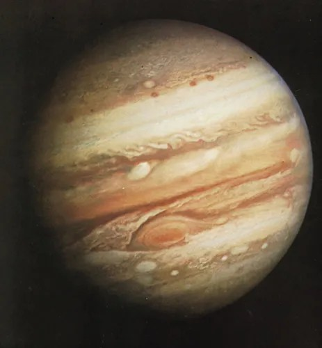 Photograph of Jupiter taken by Voyager 1 on February 1, 1979, at a range of 32.7 million km (20.3 million miles). Prominent are the planet's pastel-shaded cloud bands and Great Red Spot (lower centre).