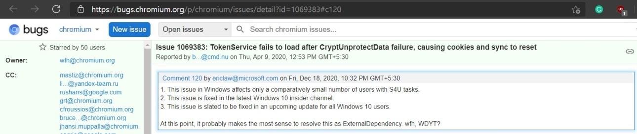 Ошибка Chromium для сброса файлов cookie и синхронизации