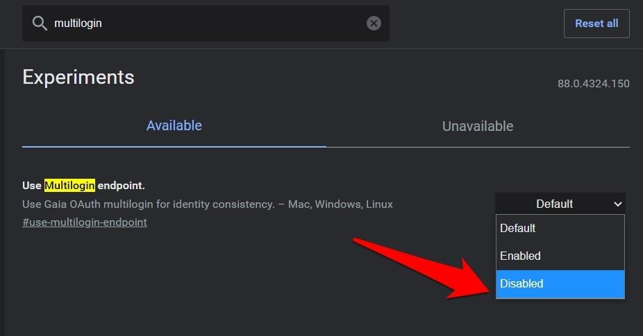 Отключить использование флажков Chrome для конечных точек с несколькими входами