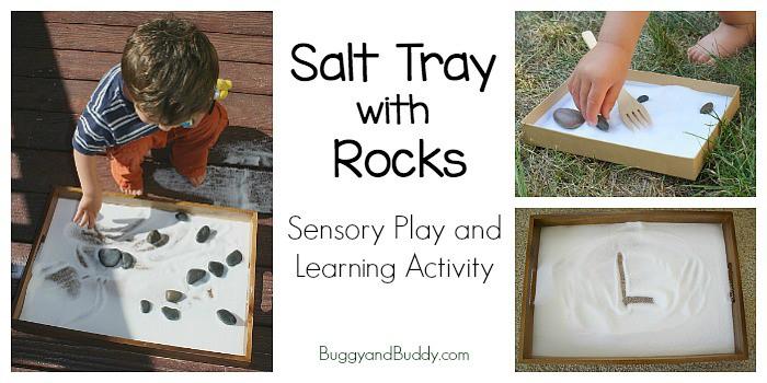 Sensory Play Salt Tray With Rocks And Mini Salt Tray Buggy And Buddy