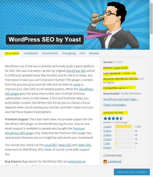 WordPress plugin details