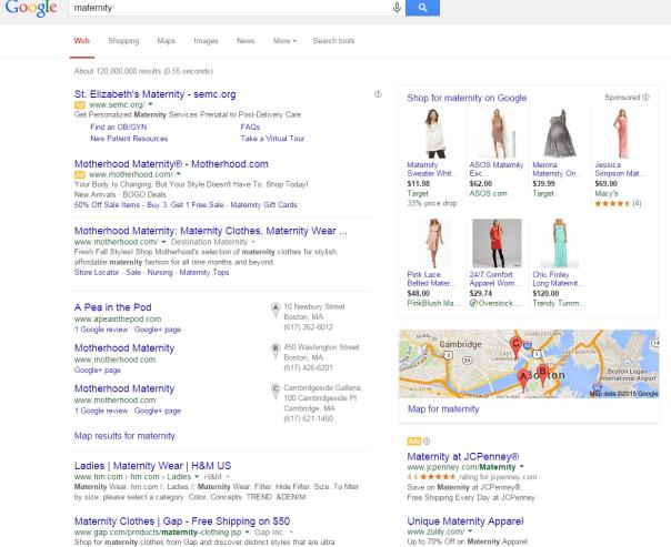 Broad match type Google serp