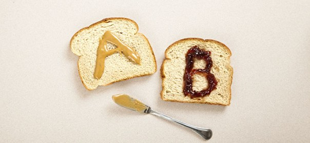 AB testing with peanut butter and jelly on two peices of bread