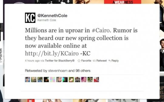 Kenneth Cole Cairo Trending Hashtag Mistake