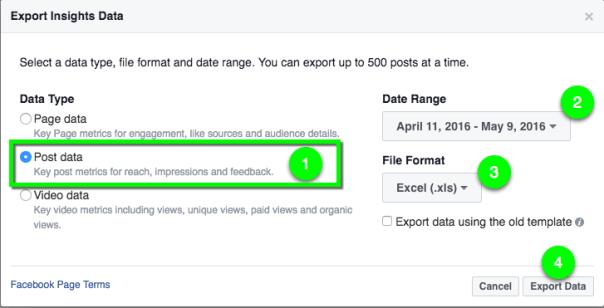 Facebook-Insights-export-post-data