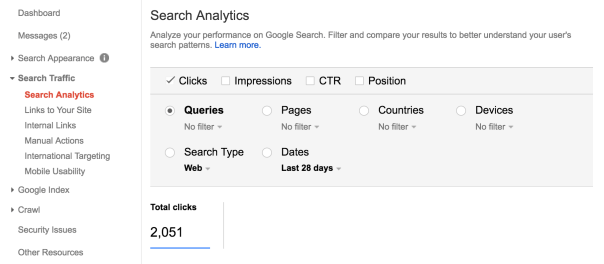Search Analytics Module of Search Console