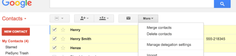 more and merge PieSync Google Contacts