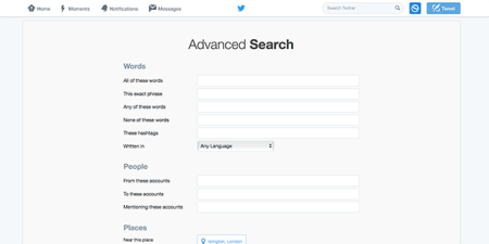 Twitters advanced search uses Boolean logic