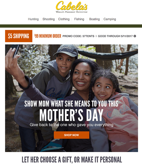 Cabelas - Mothers Day Email