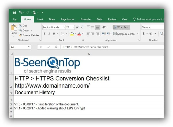 Snapshot of the first tab of the conversion checklist