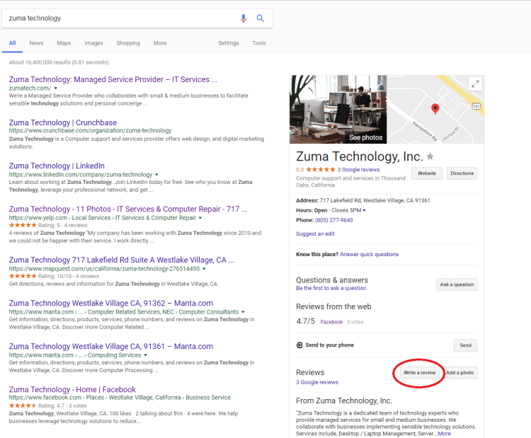 An image of Googles search page after searching for a business