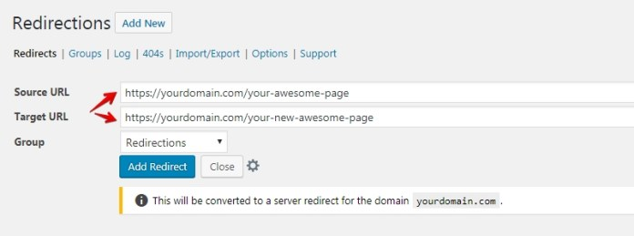 How can I redirect a page to WordPress?