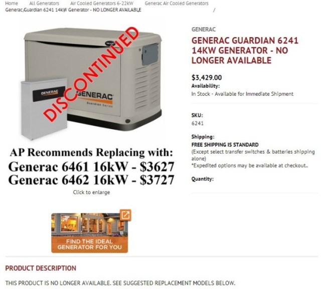 Example of a re-purposed product page