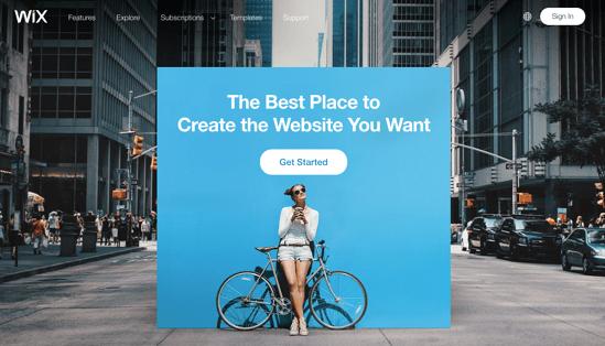Wix homepage 2019