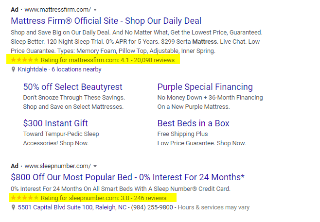 Example of Google Seller Ratings on a text ad