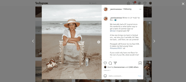 Jasmin posts ads in her own social profile that acts as social proof for Truly