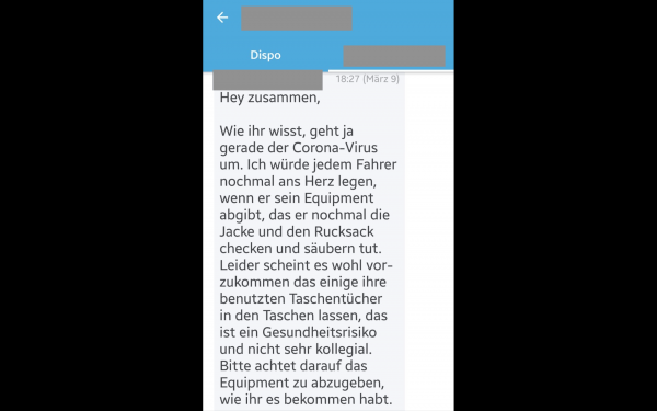 The screenshot shows an excerpt from the Lieferando chat app, which reports on the lack of hygiene standards.