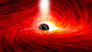 Astronomers observe light from behind a black hole