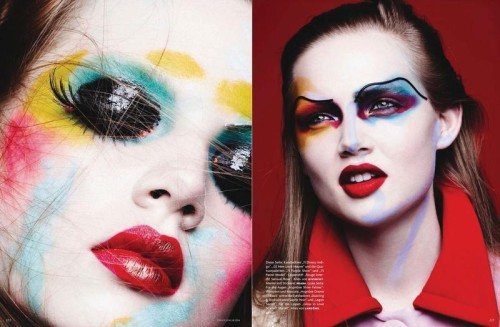 Beauty editorial shot by Ben Hassett, makeup Marla Belt for Vogue Germany Jan 2014 | Source: Models.com
