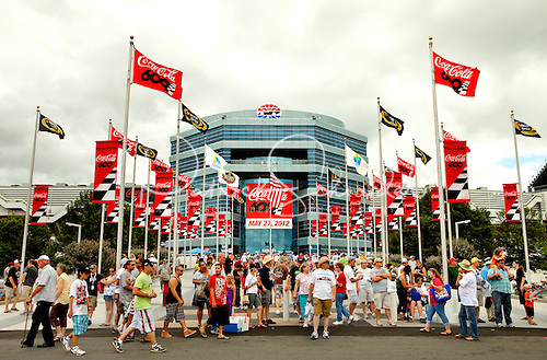 Photo: Colorful Coca-Cola 600 flags line the entrance to the Charlotte Motor Speedway for the May 27, 2012 race.