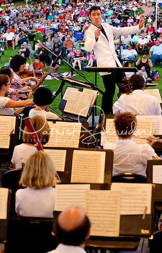 The Charlotte Symphony performing during an outdoor pops concert at Lake Norman.