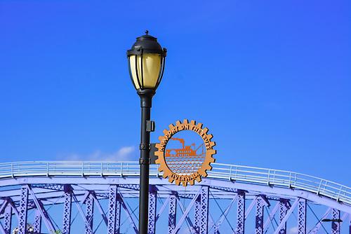 Lamp at the Riverwalk in Newport, Kentucky near Cincinnati, Ohio.