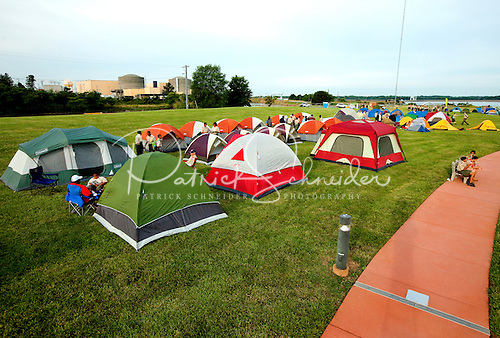 Photo: The Duke Encampment included camping along the shores of Lake Norman. Duke's McGuire Nuclear Energy Station is visible behind the tents.