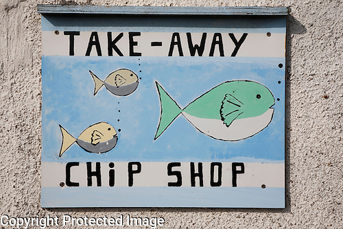 Fish and Chip Shop Sign, Sanday, Orkney Islands, Scotland