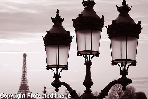 Eiffel Tower and Lamppost, Paris, France