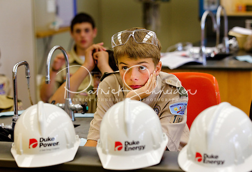 Photo: Boy Scouts participate in laboratory work and classroom learning while earning a merit badge.