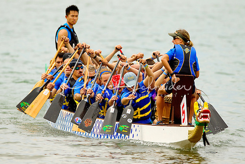 Dragon Boat racers in the 2012 Charlotte Dragon Boat Races.