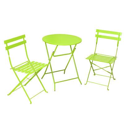 leggo 3 piece folding metal patio table chair set