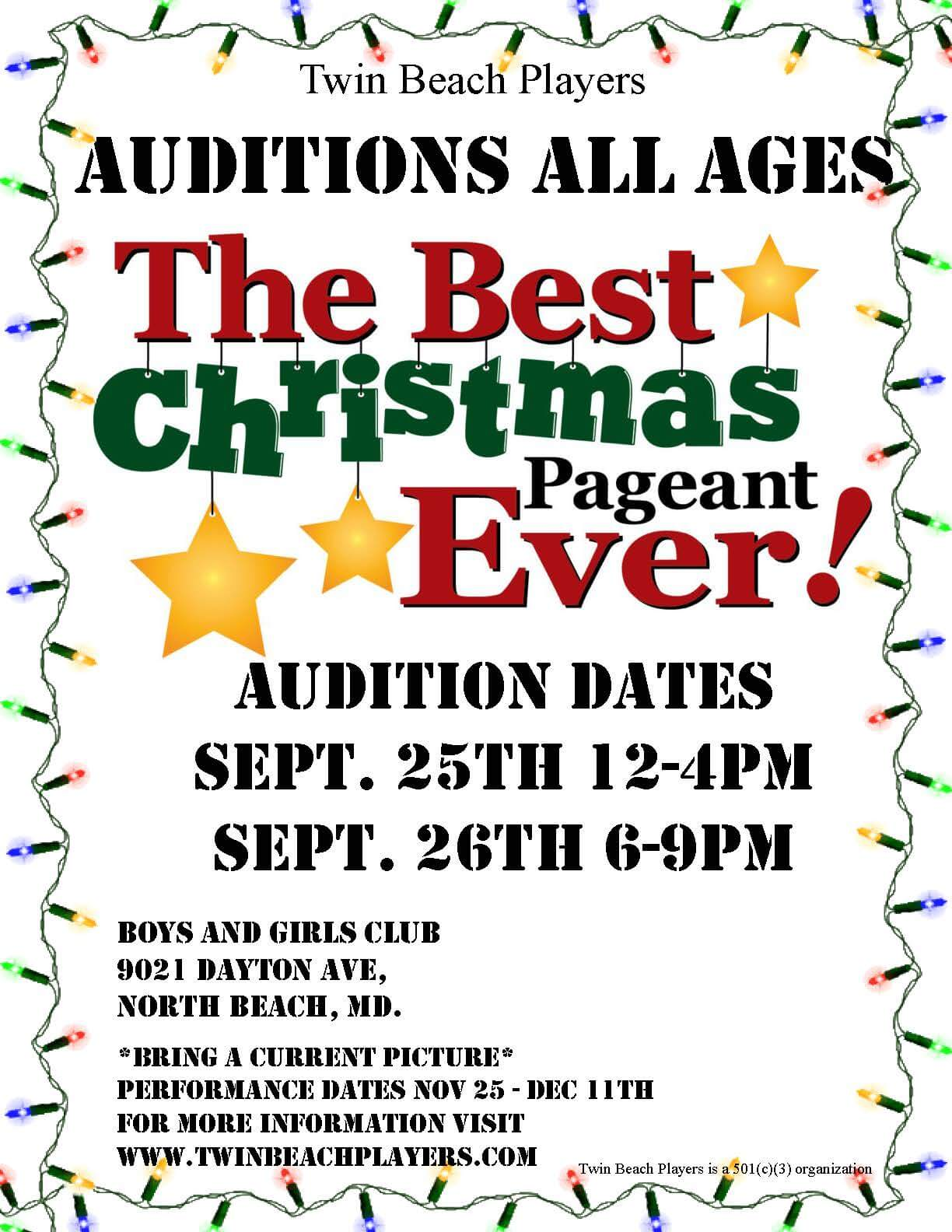 All Ages Audition For The Best Christmas Pageant Ever