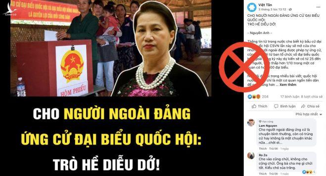 Luận điệu xuyên tạc bầu cử của Việt Tân.