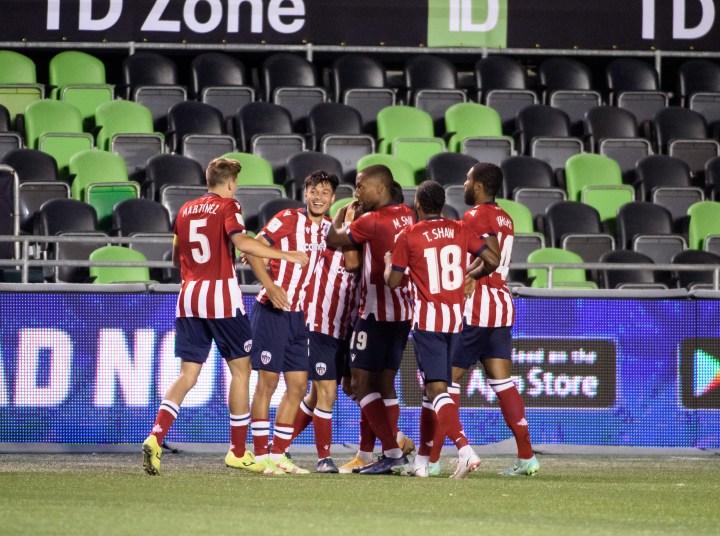 Atlético Ottawa celebrates scoring against York. (Andrea Cardin/Freestyle Photography/CPL)