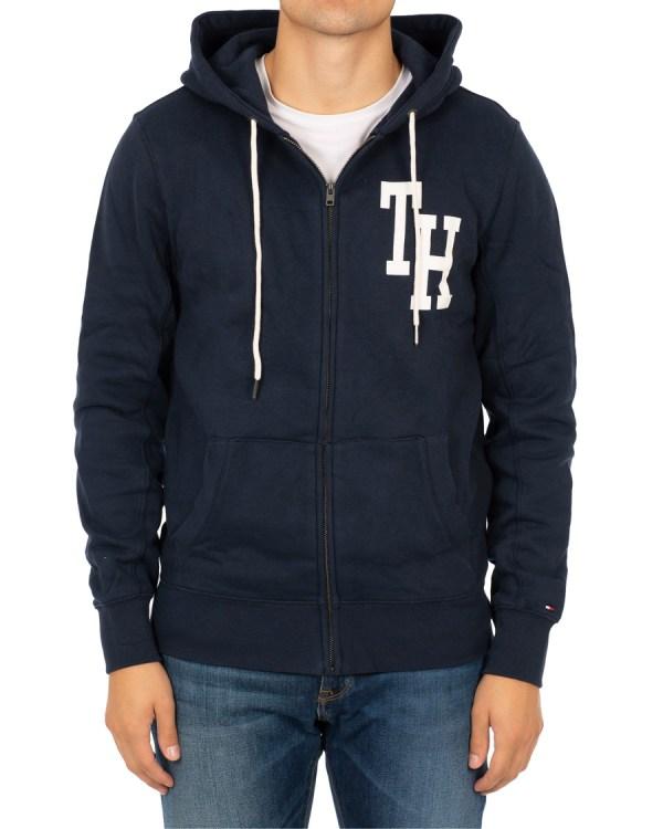 Tommy Hilfiger Logo Full Zip Hoodie Sky Captain hos ...