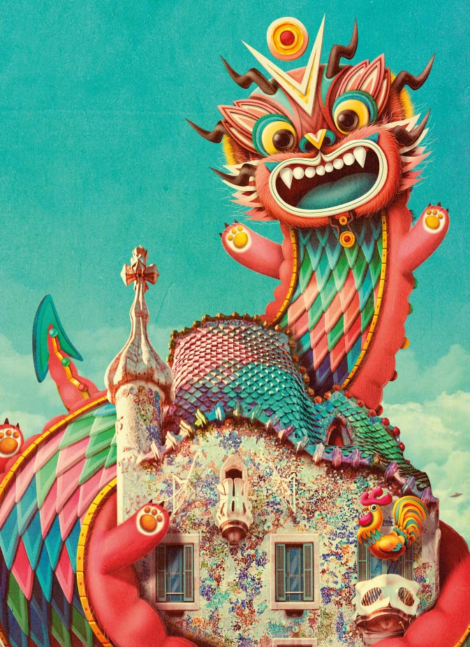 The Casa Batlls Dragon Wishes You Happy Fire Rooster Year Casa Batll