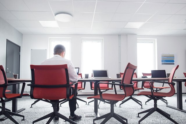 the chief executive officer working in an office