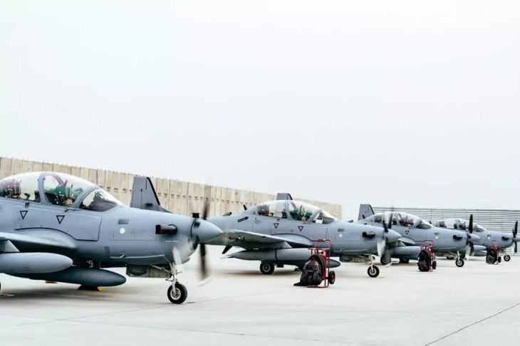 Four A-29 Super Tucanos arrive before the beginning of the 2017 fighting season at Kabul Air Wing, Kabul, Afghanistan on March 20, 2017.