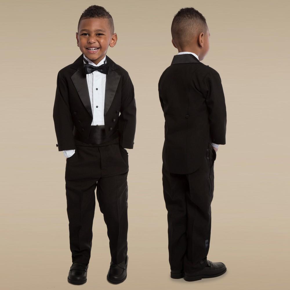 romano vianni boys 5 piece black tuxedo suit